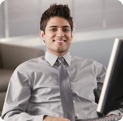 Happy man at the computer